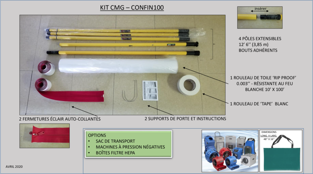 Le kit de confinement CONFIN 100 comprend